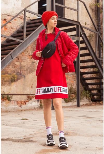 Tommy Life Baskılı Kırmızı Spor Elbise