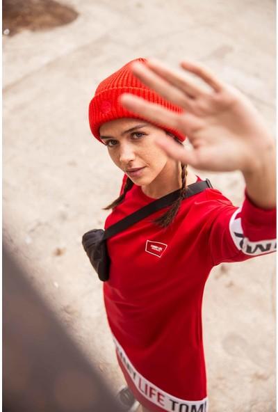 Tommy Life Baskılı Kırmızı Kadın Spor Elbise