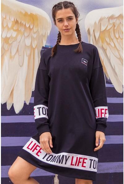 Tommy Life Baskılı Lacivert Kadın Spor Elbise