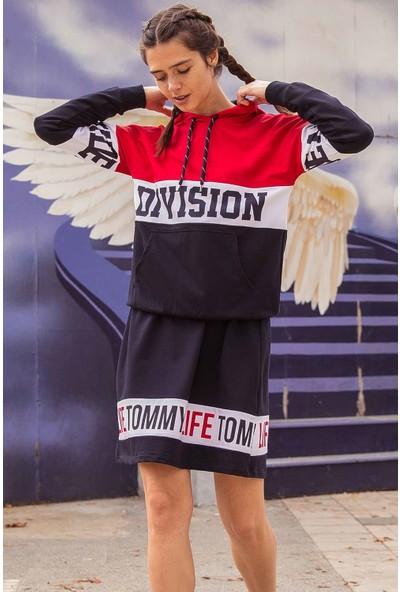 Tommy Life Baskılı Lacivert Spor Elbise