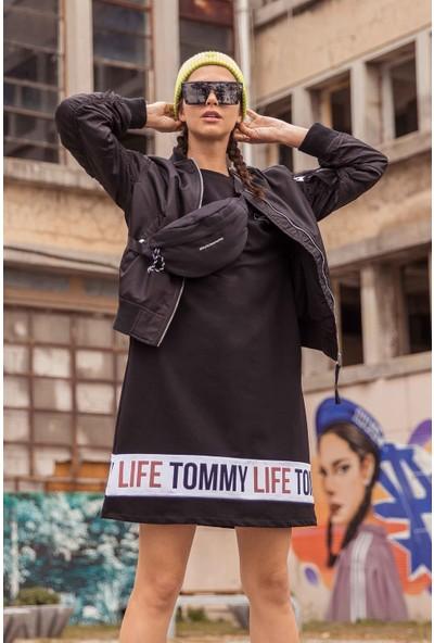 Tommy Life Baskılı Siyah Spor Elbise