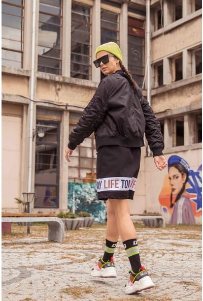 Tommy Life Baskılı Siyah Kadın Spor Elbise