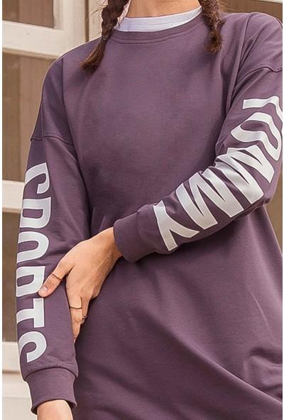 Tommy Life Kol Baskılı Mor Kadın Sweatshirt