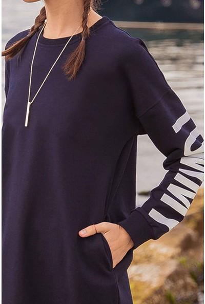 Tommy Life Kol Baskılı Lacivert Kadın Sweatshirt