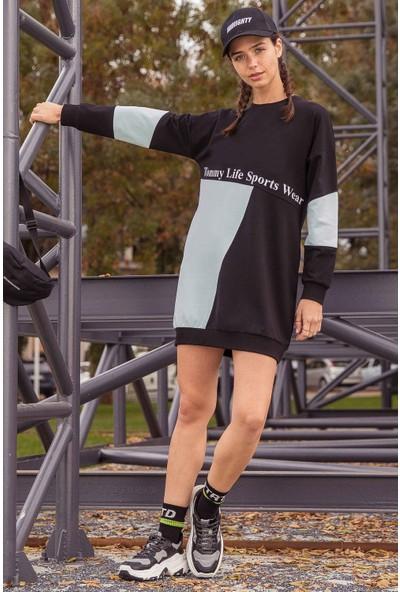 Tommy Life Garnili Yazı Baskılı Siyah-Açık Mavi Kadın Sweatshirt
