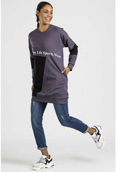 Tommy Life Garnili Yazı Baskılı Mor-Siyah Kadın Sweatshirt