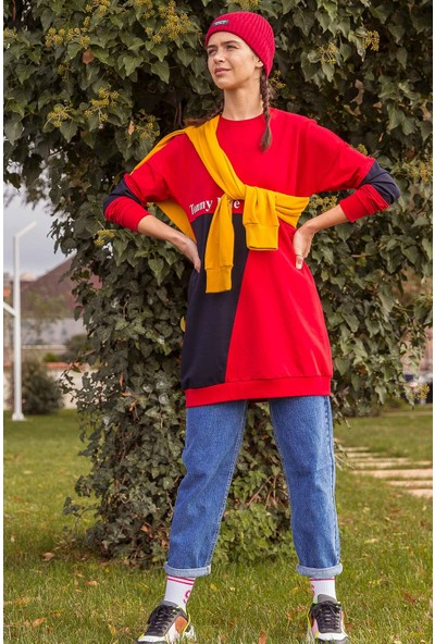 Tommy Life Garnili Yazı Baskılı Kırmızı-Lacivert Kadın Sweatshirt
