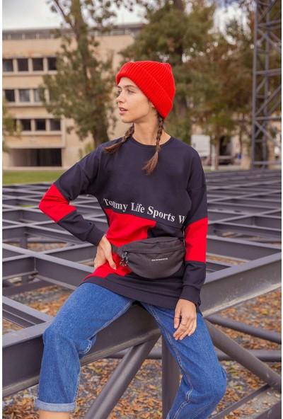 Tommy Life Garnili Yazı Baskılı Lacivert-Kırmızı Kadın Sweatshirt