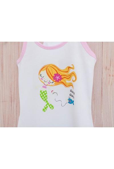 English Home Love Mermaids Pamuklu Kız Çocuk Plaj Elbısesı 4-5 Yaş Beyaz
