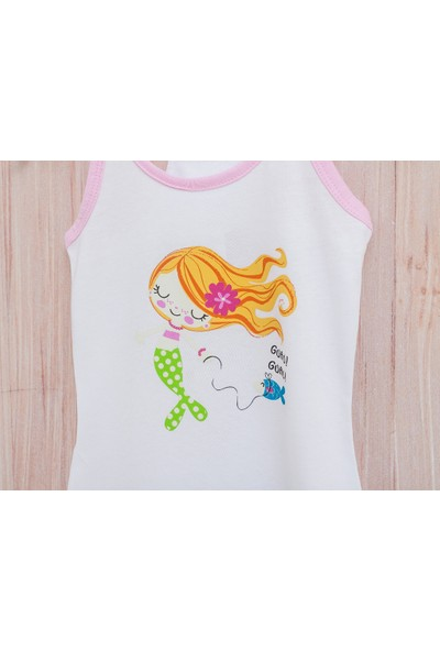 English Home Love Mermaids Pamuklu Kız Çocuk Plaj Elbısesı 6-7 Yaş Beyaz