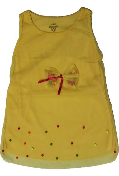 Birdirbir Miniçitlenbik Kız Çocuk Sarı Renkli Boncuklu Jile Tüllü Elbise