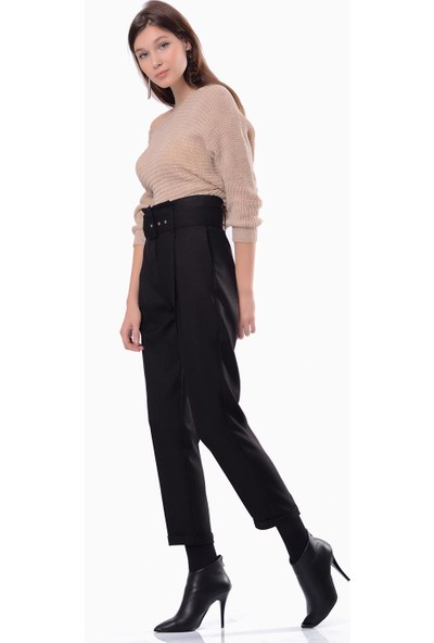 İroni Kemerli Yüksel Bel Çizgili Kamel Pantolon