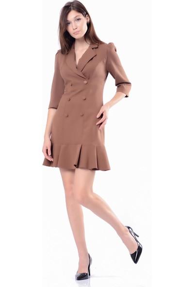 İroni Volanlı Vızon Blazer Elbise