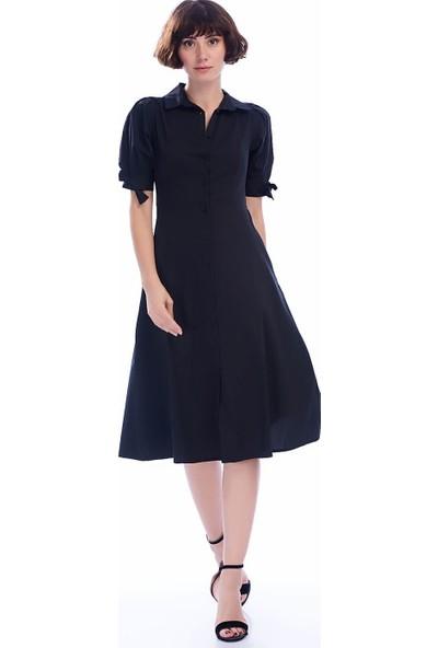 İroni V Yaka Kolsuz Pileli Elbise