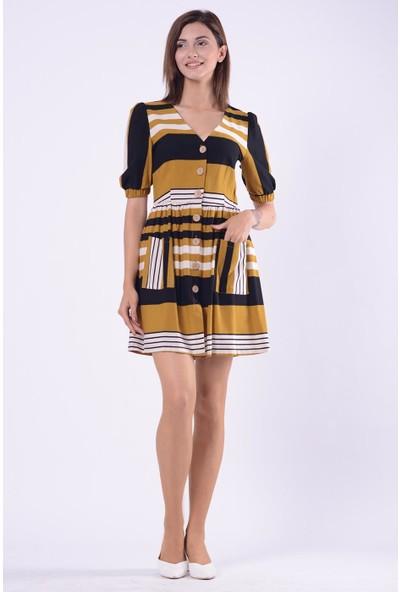 İroni Çizgili Hakı Gömlek Elbise