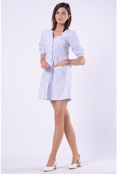 İroni Balon Kol Çizgili Pudra Mini Elbise