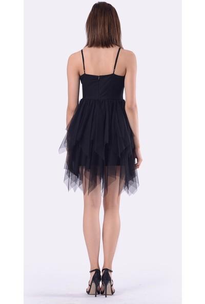 İroni Kat Kat Etekli Şifon Siyah Elbise