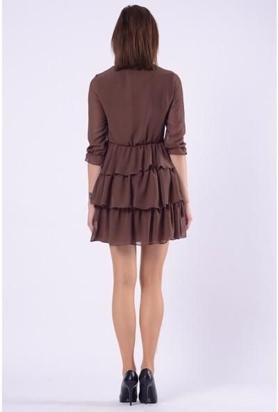İroni Çiçekli Şifon Haki Katlı Elbise