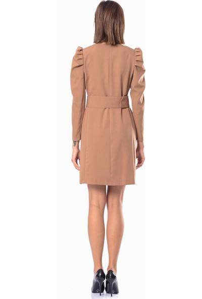 İroni Pileli Kadife Mini Elbise