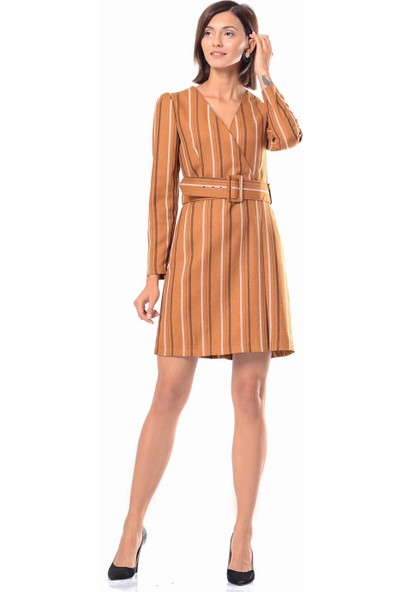 İroni Kadife Kiremit Mini Elbise