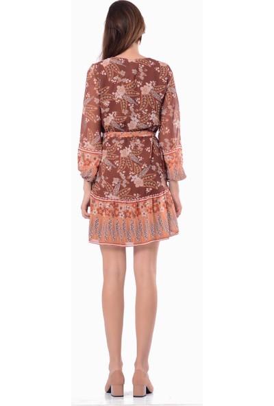 İroni Eteği Fırfırlı Leopar Şifon Elbise