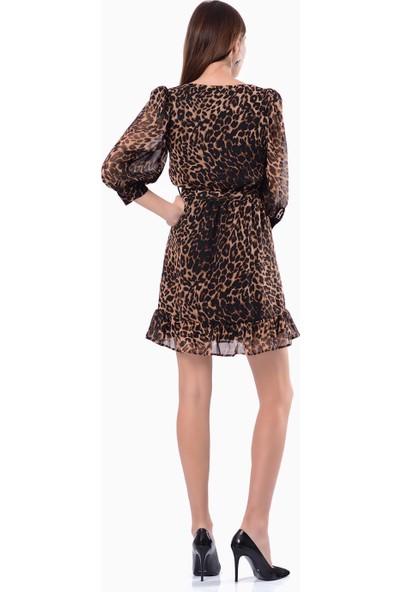İroni Düğmeli Uzun Leopar Elbise