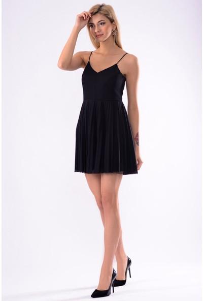 İroni Kolsuz Siyah Ceket Elbise
