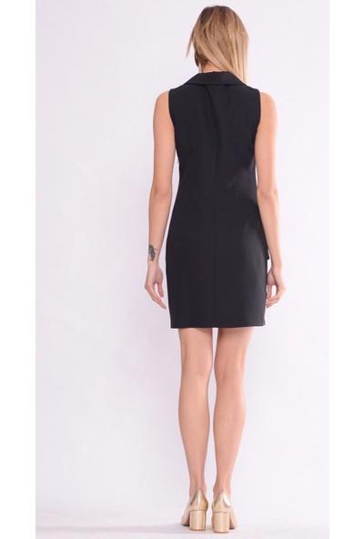 İroni Pile Detaylı Siyah Yelek Elbise