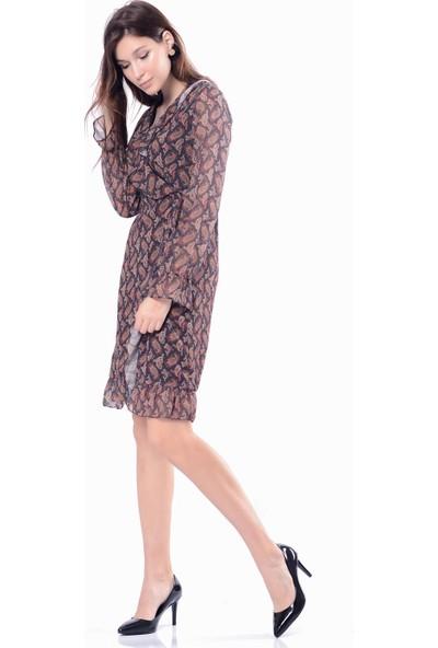 İroni Çiçek Desen Siyah Fırfırlı Şifon Elbise