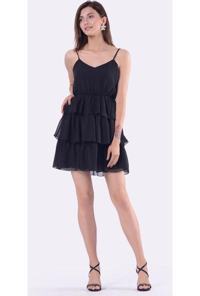 İroni Desenli Lacivert Şifon Mini Elbise