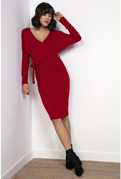 Liplipo Ön Arka Kruvaze Sırtı Bantlı Likra Elbise