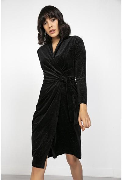 Liplipo Simli Güpür Detaylı Astarlı Şifon Abiye Elbise