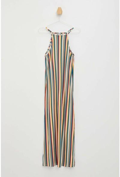 Defacto Çizgili Askılı Uzun Elbise