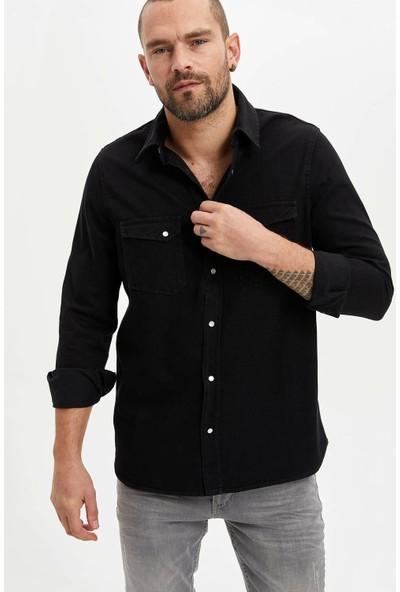 Defacto Slim Fit Çıtçıtlı Jean Gömlek