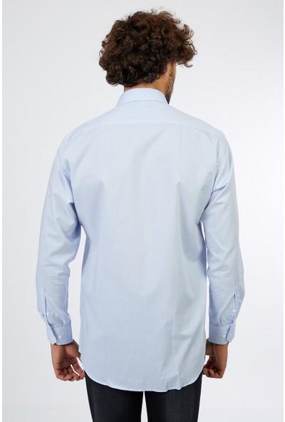 D'amore Vitali Ricci Erkek Modern Fit Günlük Mavi Gömlek