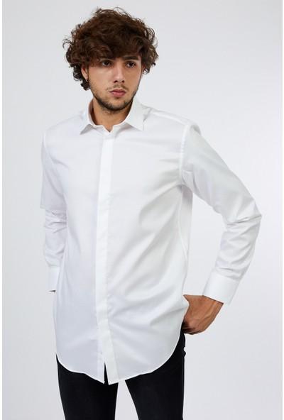 D'amore Vitali Ricci Erkek Modern Fit Günlük Beyaz Gömlek