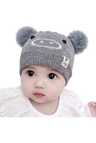 GOB2C Erkek Kız Bebek İşlemeli Örme Ponponlu Bere