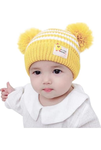GOB2C Kız Erkek Bebek Çizgili Ponponlu Bere