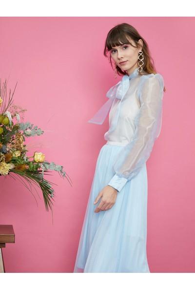 Koton Kadın Tül Detaylı Bluz