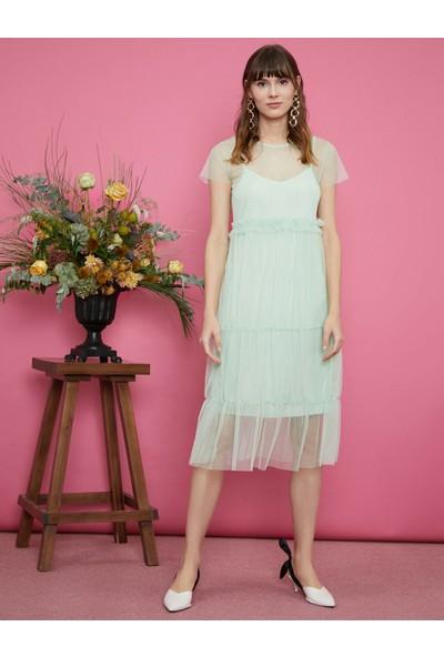 Koton Kadın Tül Detaylı Elbise