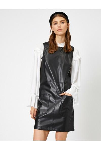 Koton Deri Görünümlü Elbise