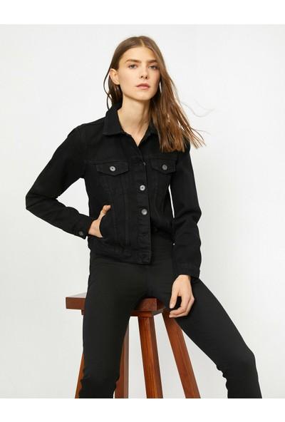 Koton Düğme Detaylı Jean Ceket