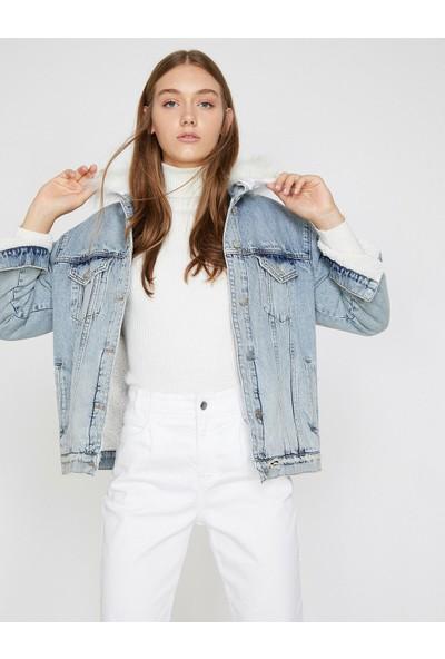 Koton Suni Kürk Detaylı Jean Ceket