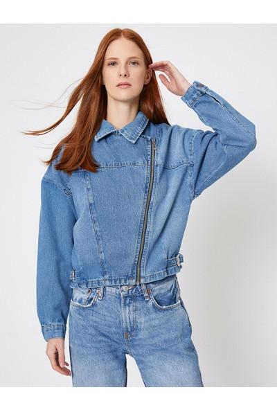 Koton Fermuar Detaylı Jean Ceket
