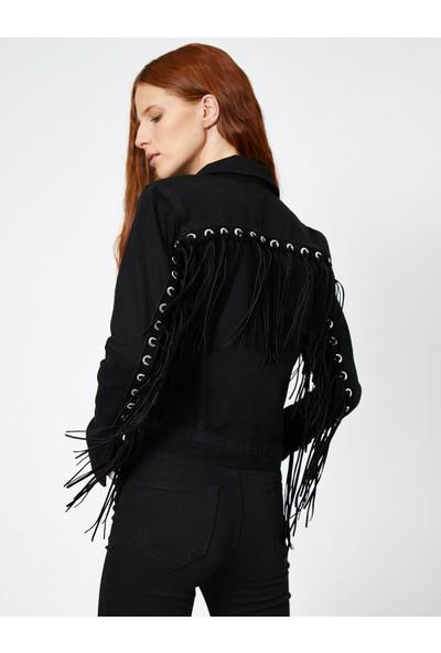 Koton Kus Gözü Detaylı Jean Ceket