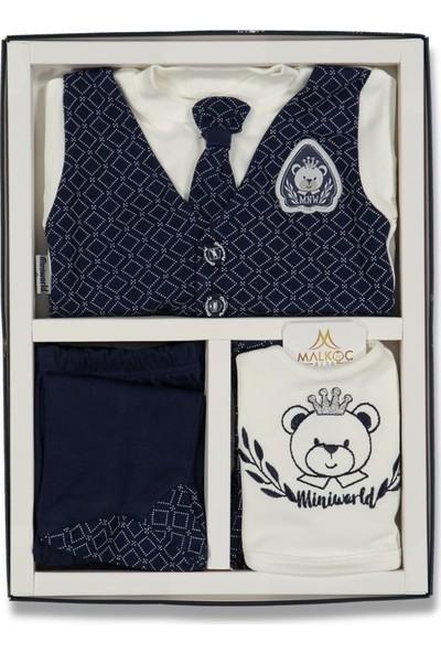 Fahroni Erkek Bebek Baklava Desenli Kravatlı 5'li Zıbın Seti