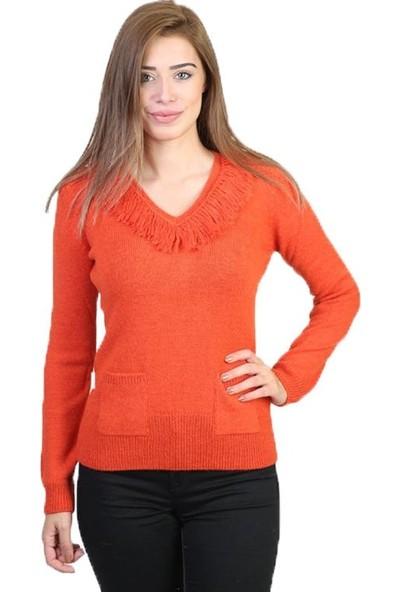 Sweater V Yaka Kadın Kışlık Kazak 3134