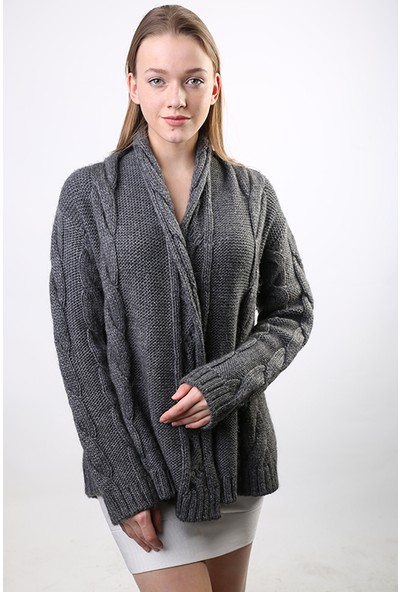 Sweater Bisiklet Yaka Kadın Kışlık Ceket 3275