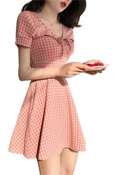 Gob2c V Yaka Kiraz Desenli Elbise