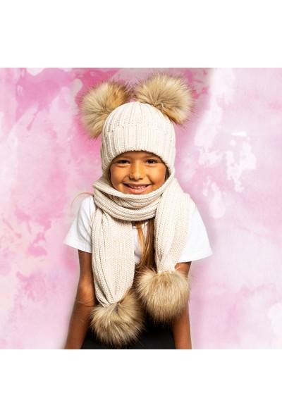 BabyDora Ponponlu Kız Çocuk atkı & bere takım 3-6 yaş